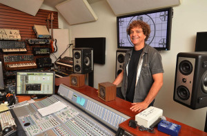 Pictured in his studio with the Barefoot MM27 monitors is award-winning composer Anthony Marinelli.  Photo by David Goggin.
